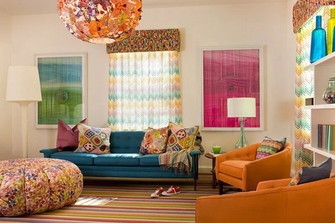 Retro Living Room with Colorful Chevroon Curtain