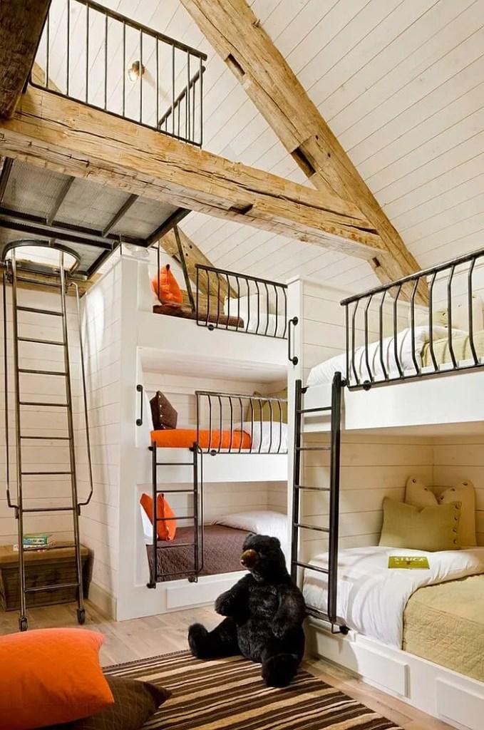 Rustic Kid's Bedroom with Roof Beams