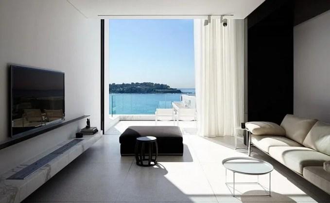 Sleek Black and White Living Room