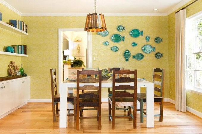 Charming Yellow and Blue Dining Room