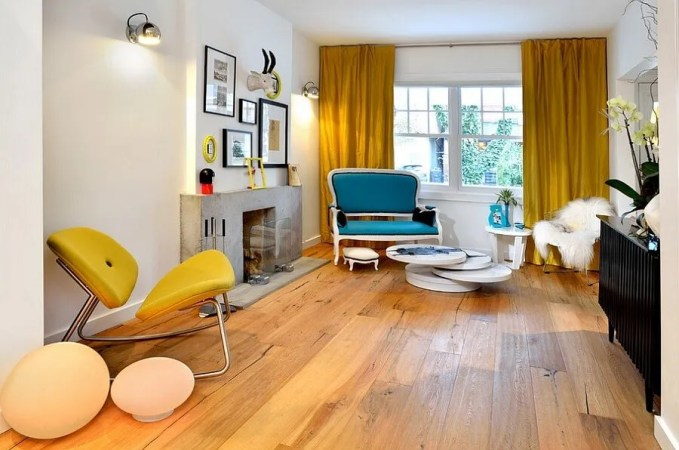 Chic Yellow and Blue Living Room