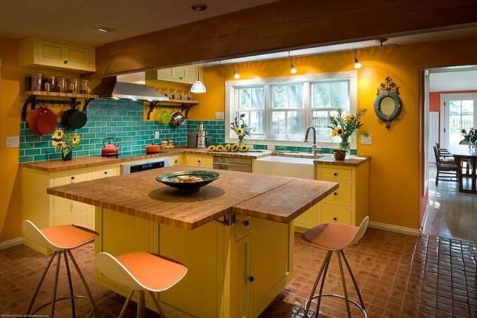Farmhouse Yellow and Blue Kitchen