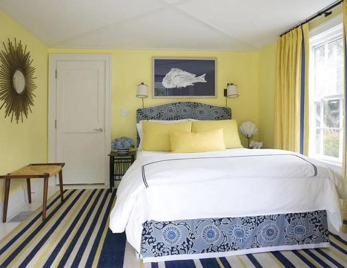 Lemon Yellow and Navy Blue Bedroom