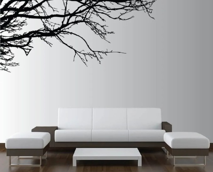 Minimalist Living Room with Sharp Wall Decal