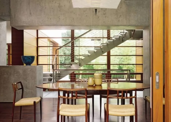 Modern Dining Room with Concrete Walls