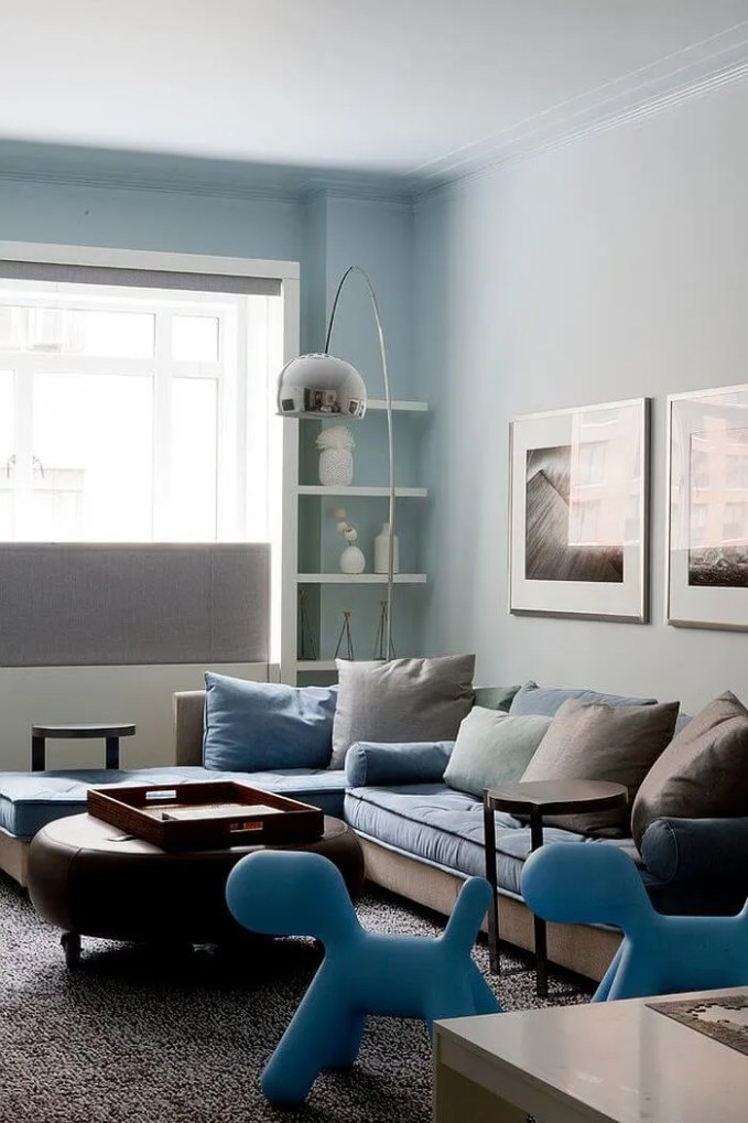 Modern Gray and Blue Sectional
