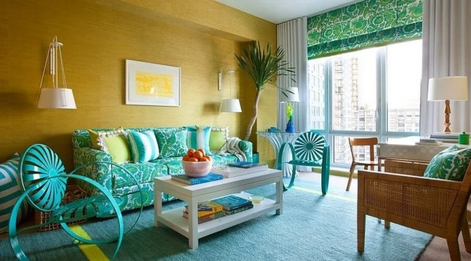 Refreshing Yellow and Blue Living Room