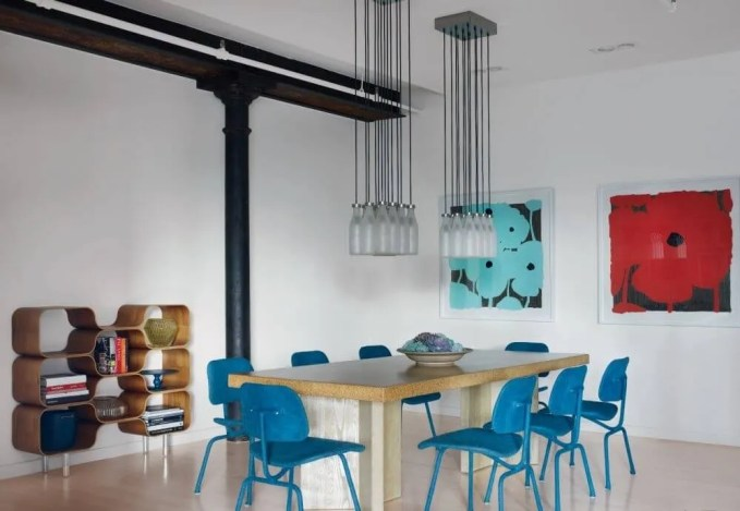 Sleek Colorful Dining Room