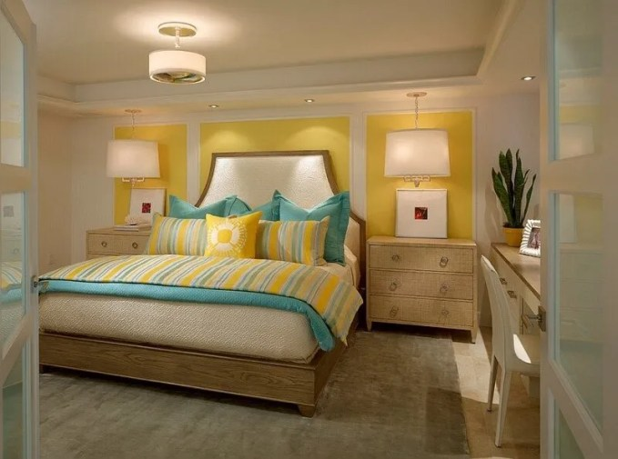 Soft Yellow and Blue Bedroom