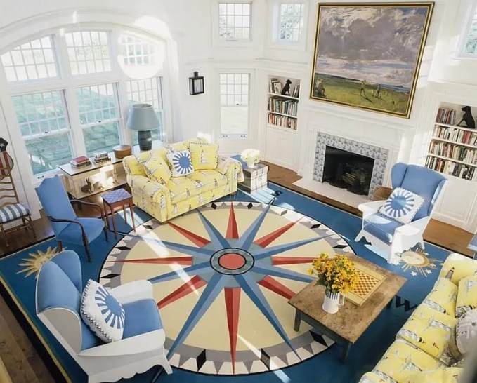 Spacious Yellow and Blue Living Room