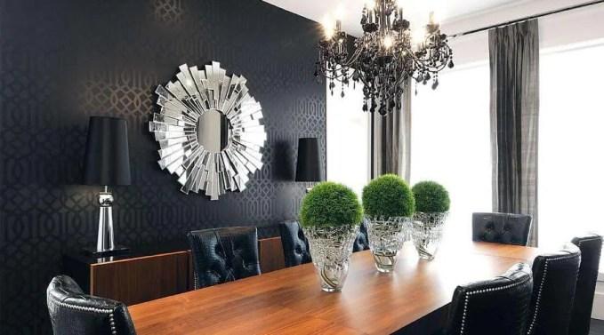 Fierce Black Wallpaper In A Stylish Dining Room