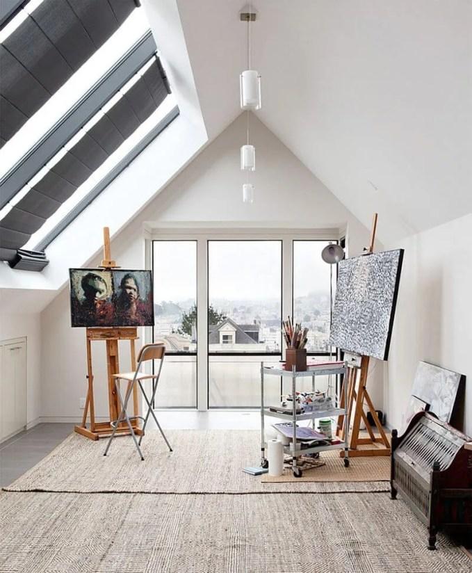 Minimalsit Office with skylight