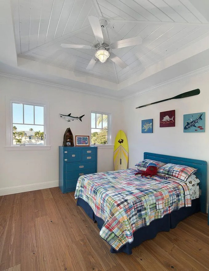 Blue and White Tropical Kid's Bedroom