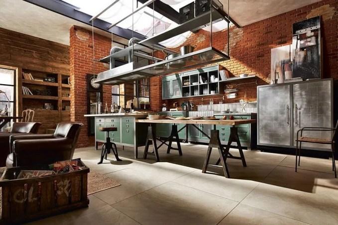 Brick Walls Contemporary Industrial Kitchen Design