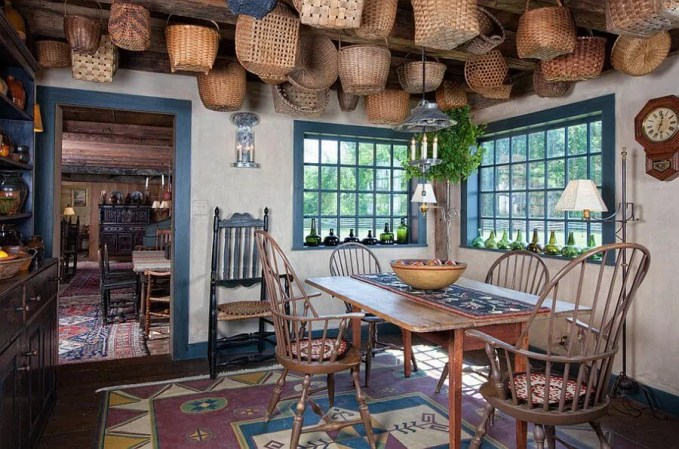 Chic Farmhouse Dining Room with decorative baskets on the ceiling