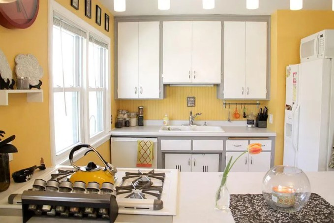 Cozy Gray and Yellow Kitchen