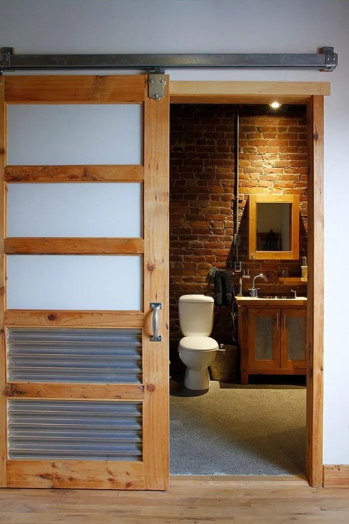 Eclectic Bathroom with Sliding Barn Door