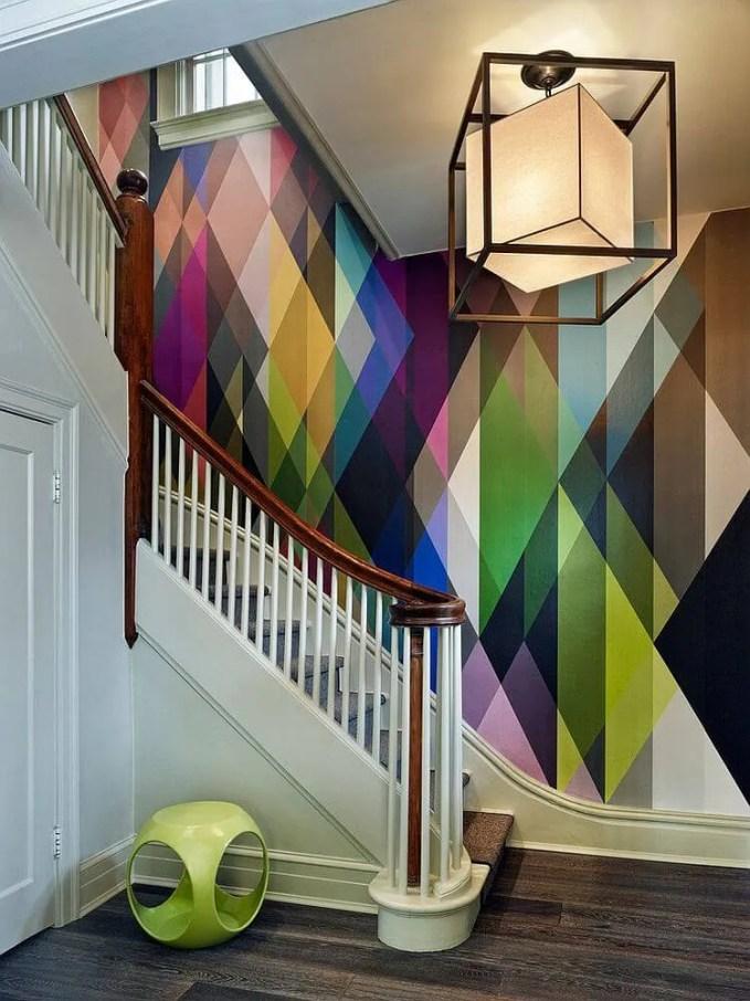 Geometric Staircase Wallpaper