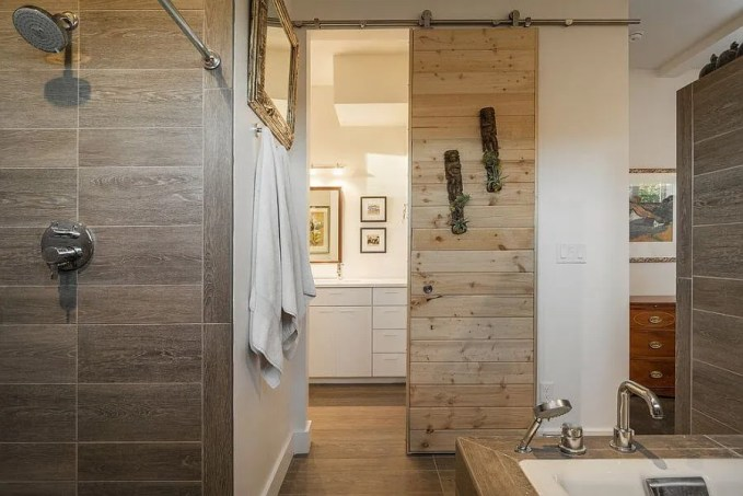 Modern Bathroom with Unfinished Sliding Doors