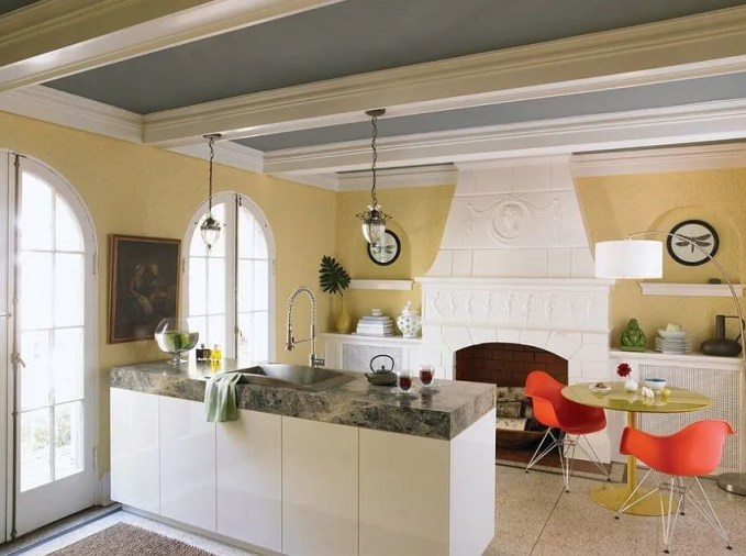 Traditional Gray and Yellow Kitchen