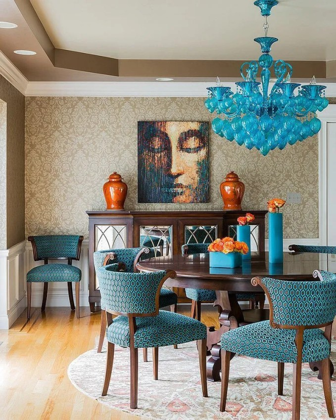 Bold Blue Dining Room