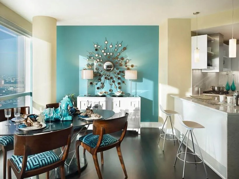 Bright  Blue Dining Room