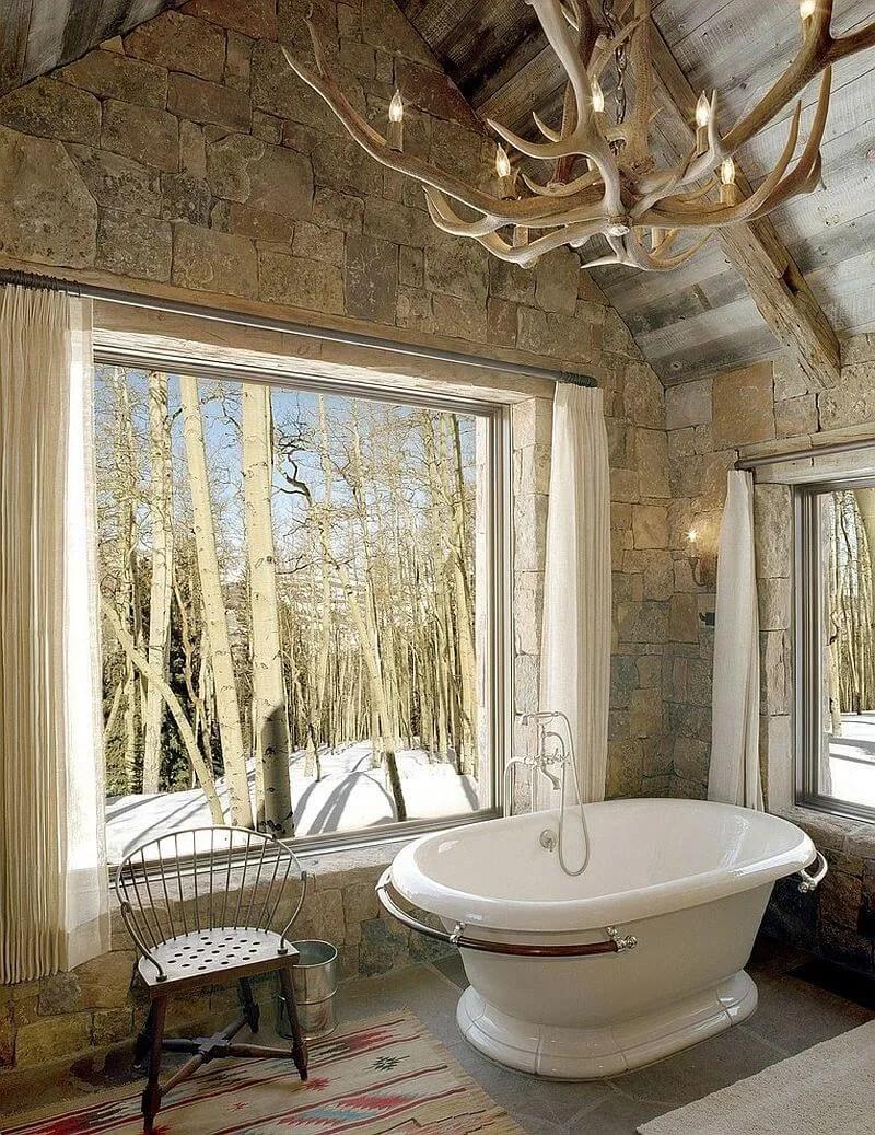 Tall Rustic Bathroom