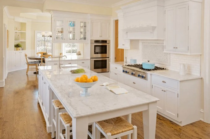 White Kitchen Island With Marble Worktop
