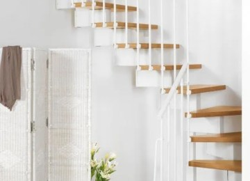 Wooden staircase in modern interior