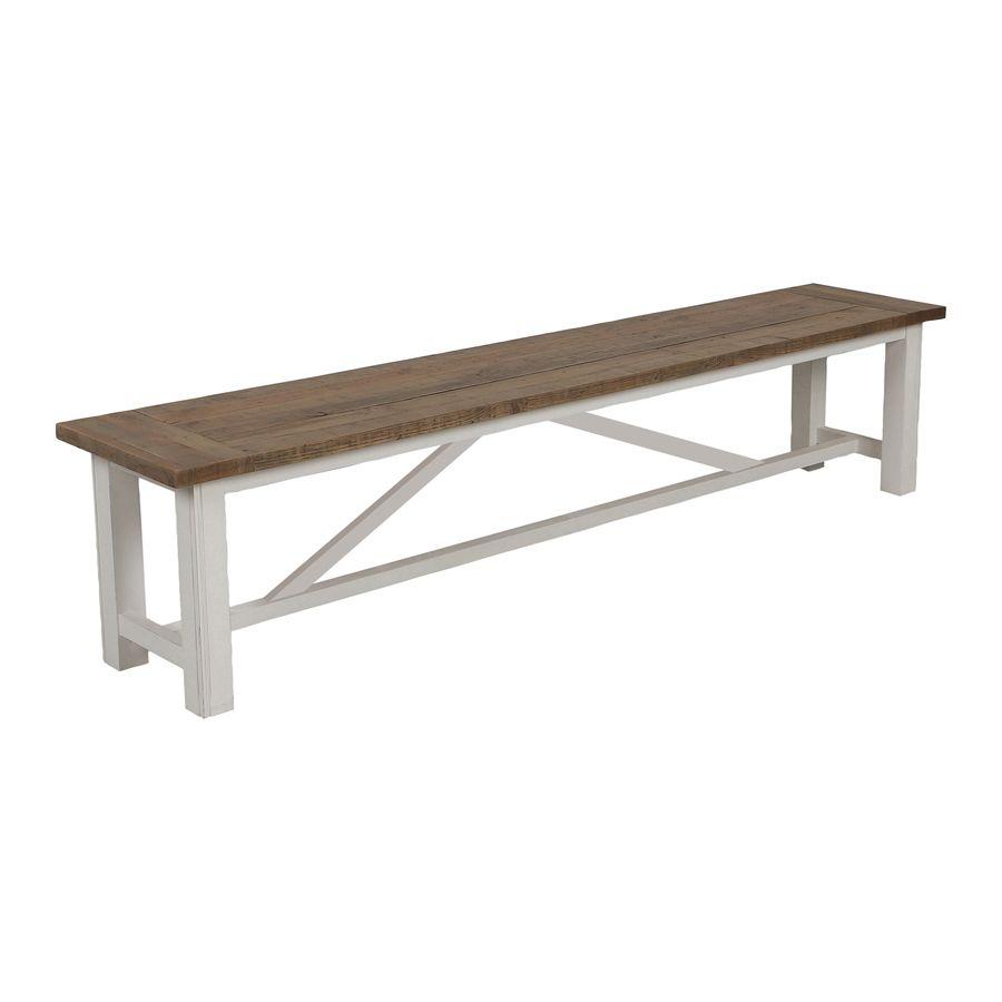 banc blanc en bois recycle l210 cm rivages