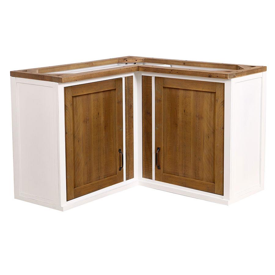 meuble de cuisine haut d angle 2 portes en bois recycle blanc rivages