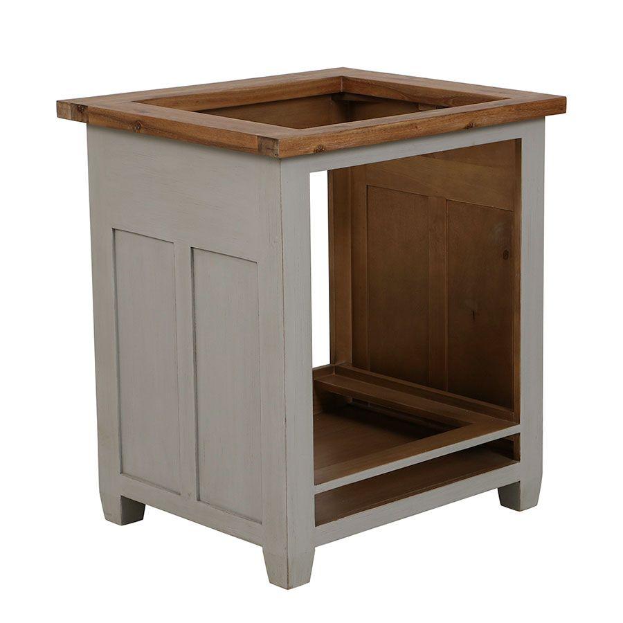 meuble bas de cuisine pour four et plaque en pin gris perle brocante