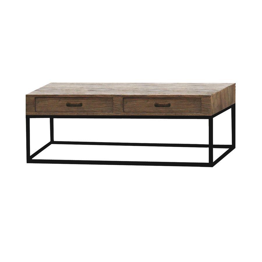 table basse rectangulaire industrielle avec rangement transition
