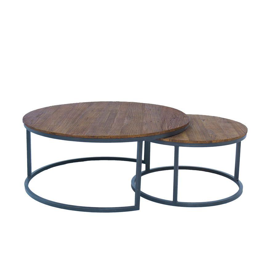 tables basses rondes gigognes en orme et metal transition