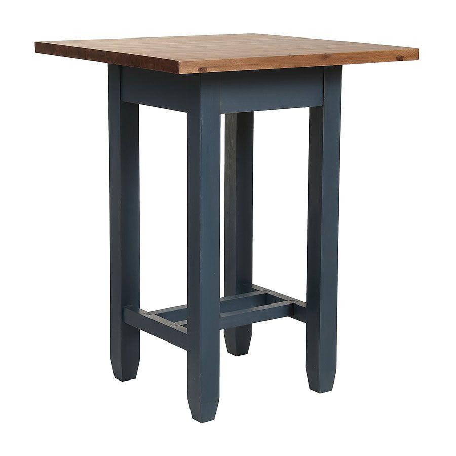 table haute bleue carree en pin 2 a 4 personnes brocante