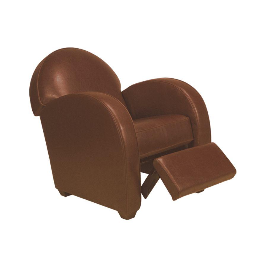 fauteuil relax club en cuir cognac steed