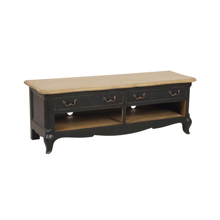 meuble tv baroque noir avec rangements en pin manoir
