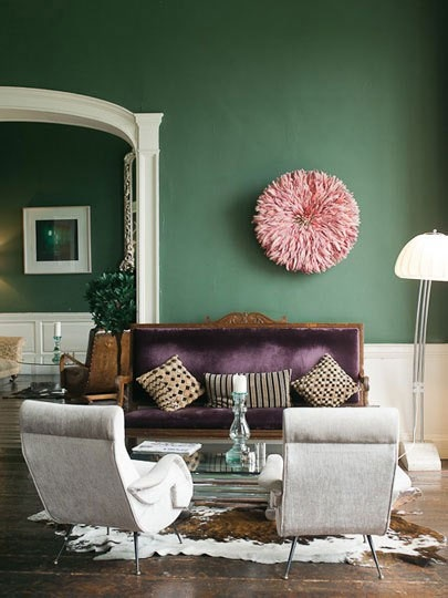 Delightful Green Pink And Purple Living Room Interiors By Color Part 31