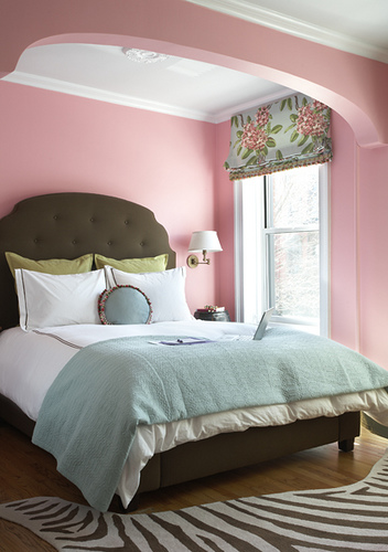 Pastel Bedroom In Pink Blue And Green Interiors By Color