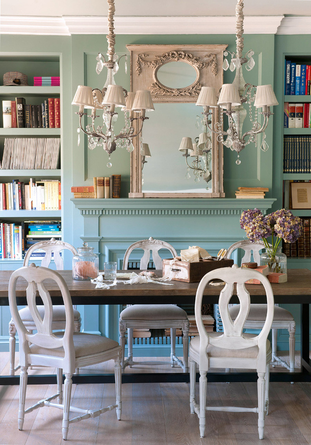 Classic Dining Room In Turquoise Interiors By Color