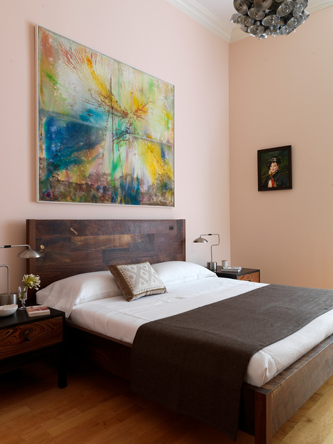Contemporary Bedroom In Eggshell Pink Interiors By Color