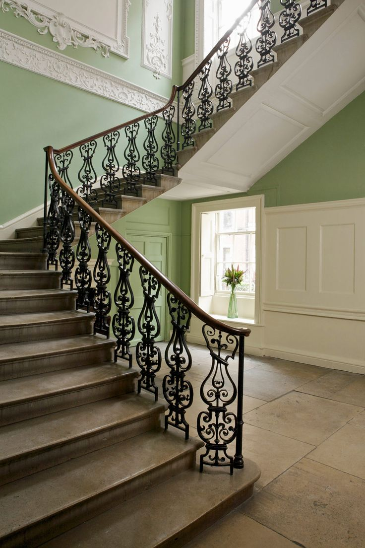 Hall And Stairs In Farrow Amp Ball Saxon Green And Clunch