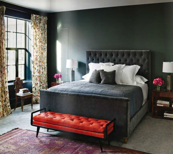 Gray Red And Purple Master Bedroom