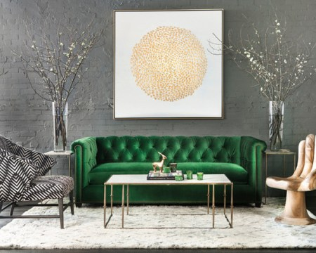 Contemporary Living Room in Green and Gold   Interiors By Color green and gold living room