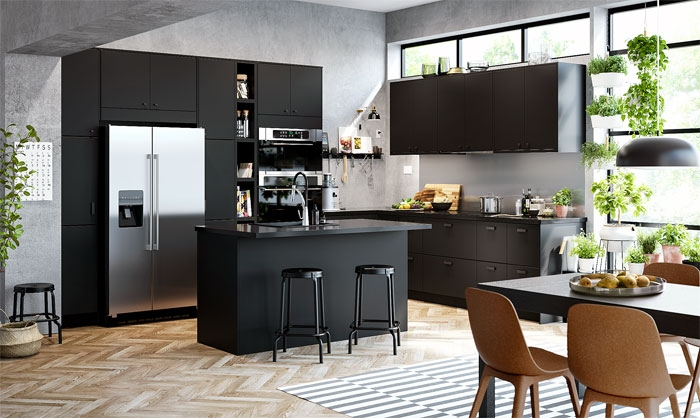 80 Black Kitchen Cabinets – The Most Creative Designs Ideas | Small Kitchen Design Under Stairs | Stair Storage | Dining Room | Basement Kitchenette | Space Saving | Small Spaces