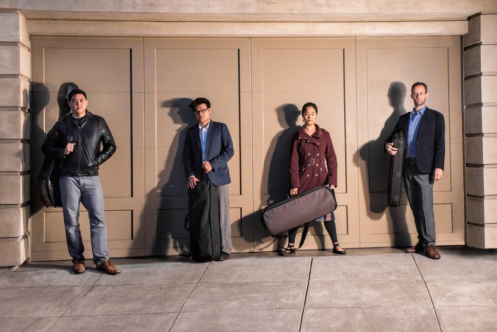 Telegraph-Quartet(L-R)_Jeremiah-Shaw(cello)_Eric-Chin(violin)_Pei-Ling-Lin(viola)_Joseph-Maile(violin)_photo-Carlin-Ma