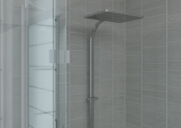 aquabord pvc t g 2 wall shower kit light grey tile effect