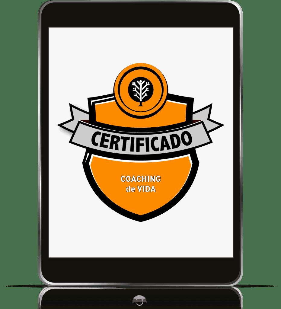 Un iPad con la insignia del curso Coaching de Vida