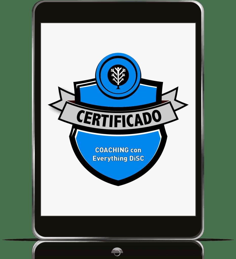 Un iPad con la insignia del curso Coaching de DiSC