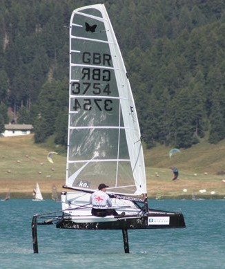 Rod Harris, Poole Mothie sailing at Silvaplana